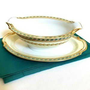 NORITAKE RAPHAEL Gravy Boat Attached Underplate